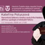 Kateřiny Potyszová: Romantická žárlivost a nevěra z evolučního hlediska - definice, typologie a individuální faktory, 13. listopadu 2020